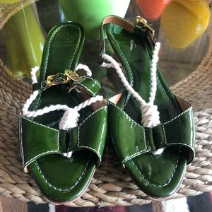 Small Heel Strapped Tory Burch Sandals
